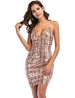 cheap -Women's A-Line Dress Short Mini Dress - Sleeveless Solid Color Sequins Embroidered Tassel Fringe Summer V Neck Sexy Party Club Slim 2020 Black Blue Gold S M L XL XXL