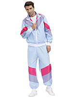 cheap -Hippie Disco Cosplay Costume Outfits Adults' Men's Cosplay Halloween Halloween Festival / Holiday Polyester Fuchsia Men's Easy Carnival Costumes / Top / Pants / Top / Pants