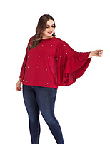 cheap -Women's Blouse Shirt Polka Dot Beaded Ruffle Round Neck Tops Loose Basic Basic Top Black Red