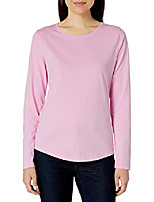 cheap -women& #39;s classic-fit 100% cotton long-sleeve crewneck t-shirt, pink, large