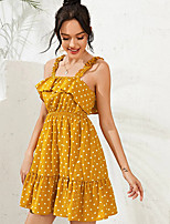 cheap -Women's A-Line Dress Short Mini Dress - Sleeveless Polka Dot Ruched Patchwork Print Summer Off Shoulder Casual Going out Slim 2020 Yellow S M L XL