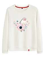 cheap -Women's Sweatshirt Womens Pullover Sweatshirts Black White Pink Cartoon Crew Neck Cotton Cute Flower Bird Sport Athleisure Pullover Long Sleeve Breathable Warm Soft Comfortable Everyday Use Causal