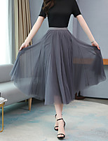 cheap -Women's Daily Wear Basic Midi Skirts Solid Colored Pleated / Loose