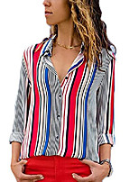 cheap -women loose fit long sleeve collared color block tunic blouse tops shirts large size 12 14 red