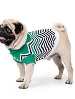 cheap -Dog Coat Sweater Stripes Casual / Daily Cute Casual / Daily Winter Dog Clothes Warm Red Green Costume Polyster XS S M L XL XXL