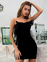 cheap -Women's Sheath Dress Short Mini Dress - Sleeveless Solid Color Lace Backless Summer Strapless Sexy Party Going out Slim 2020 Black One-Size
