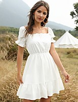 cheap -Women's A-Line Dress Knee Length Dress - Short Sleeve Solid Color Patchwork Summer Off Shoulder Elegant Going out Lantern Sleeve Cotton Slim 2020 White S M L XL