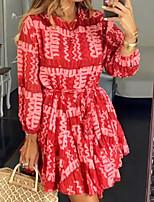 cheap -Women's A-Line Dress Knee Length Dress - Long Sleeve Print Print Summer Casual Loose 2020 Red Yellow S M L XL