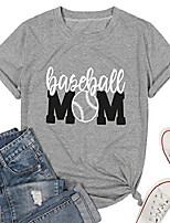 cheap -baseball mom tshirt women& #39;s short sleeve o-neck letters print casual tops tees size xl & #40;grey& #41;