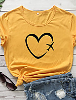 cheap -Women's T-shirt Heart Graphic Prints Print Round Neck Tops 100% Cotton Basic Basic Top White Black Purple