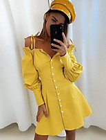 cheap -Women's A-Line Dress Short Mini Dress - Long Sleeve Solid Color Backless Ruffle Patchwork Fall Off Shoulder Casual Cotton Slim 2020 White Yellow S M L XL