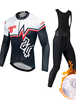 cheap -CAWANFLY Men's Long Sleeve Cycling Jersey with Bib Tights Fleece Black Bike Fleece Lining Sports Mountain Bike MTB Road Bike Cycling Clothing Apparel / Expert / Racing / High Elasticity / Athletic