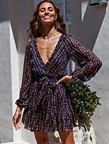 cheap -Women's A-Line Dress Short Mini Dress - Long Sleeve Print Print Summer V Neck Casual Sexy Going out Puff Sleeve Slim 2020 Royal Blue S M L