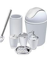 cheap -6 piece bathroom accessories set,plastic bath ensemble bath set lotion bottles, toothbrush holder, tooth mug, soap dish, toilet brush, trash can (flamingo)