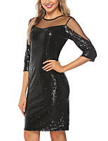 cheap -Women's A-Line Dress Short Mini Dress - 3/4 Length Sleeve Solid Color Sequins Mesh Summer Sexy Party Club 2020 Black S M L XL XXL