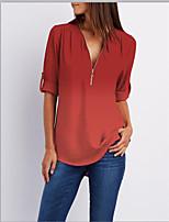 cheap -Women's Plus Size Shirt Color Gradient Plain Print Cowl Neck V Neck Tops Basic Basic Top Blue Purple Yellow