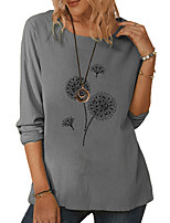 cheap -Women's Blouse Solid Colored Long Sleeve Print Round Neck Tops Loose Basic Basic Top White Green Gray