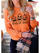 cheap -Women's Daily Pullover Sweatshirt Graphic Letter Casual Basic Hoodies Sweatshirts  Cotton Slim Oversized Orange