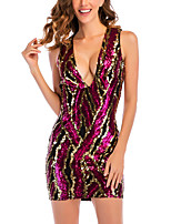 cheap -Women's A-Line Dress Short Mini Dress - Sleeveless Solid Color Sequins Summer V Neck Sexy Party Club 2020 Fuchsia S M L XL
