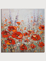 cheap -Hand-Painted Red Flowers by knife Abstract Paintings Canvas Art  Painting Abstract Acrylic Painting Modern Art Textured Art  with Stretcher Ready to Hang With Stretched Frame