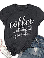 cheap -coffee is always a good idea letter print shirt for women short sleeve graphic tee shirts tops with funny sayings & #40;gray, l& #41;