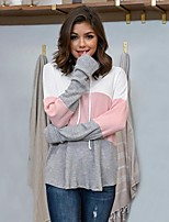 cheap -Women's Daily Pullover Hoodie Sweatshirt Color Block Casual Hoodies Sweatshirts  Blue Gray
