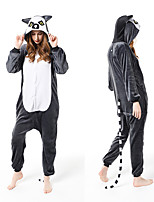 cheap -Adults' Kigurumi Pajamas Lemur Onesie Pajamas Flannelette Gray Cosplay For Men and Women Animal Sleepwear Cartoon Festival / Holiday Costumes