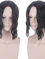 cheap -Cosplay Costume Wig Synthetic Wig Kibutsuji Muzan Demon Slayer Curly Middle Part Wig Medium Length Black Synthetic Hair 14 inch Men's Anime Cosplay Creative Black