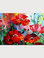 cheap -Hand-Painted Abstract Red Flowers Painting Canvas Art  Painting Abstract Acrylic Painting Modern Art Textured Art  with Stretcher Ready to Hang With Stretched Frame