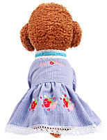 cheap -Dog Dress Flower Party Cute Christmas Party Dog Clothes Breathable Blue Pink Costume Polyster XS S M L XL