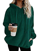 cheap -womens sherpa pullover sweatshirt fuzzy fleece crop top oversized winter outwear with pockets