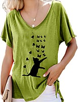 cheap -Women's Blouse Shirt Animal Print V Neck Tops Loose Basic Basic Top Red Yellow Green