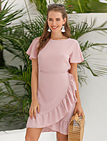 cheap -Women's Sheath Dress Knee Length Dress - Short Sleeve Solid Color Summer Work Vintage 2020 Blushing Pink S M L XL