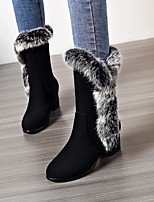 cheap -Women's Boots Wedge Heel Round Toe Casual Daily Jeans Nubuck Mid-Calf Boots White / Black