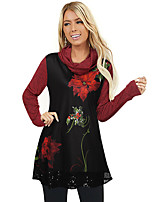 cheap -Women's Christmas Tunic Floral Leaf Flower Long Sleeve Sequins Print Cowl Neck Tops Basic Christmas Basic Top Black