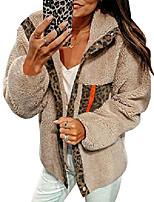 cheap -women fleece leopard coat long sleeve button down jackets winter lapel outerwear beige x-large