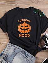 cheap -Women's Halloween T-shirt Graphic Prints Letter Print Round Neck Tops 100% Cotton Basic Halloween Basic Top White Black Dark Gray