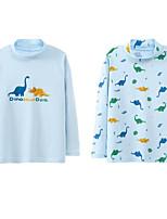 cheap -Kids Boys' Basic White Blue Dinosaur Animal Print Long Sleeve Blouse White