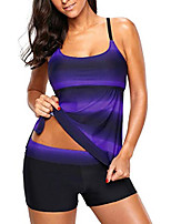 cheap -womens two piece bandeaux tankini swimsuit with boardshort color block purple l