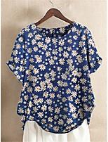 cheap -Women's Blouse Shirt Floral Flower Print Round Neck Tops Cotton Basic Basic Top Blue Green