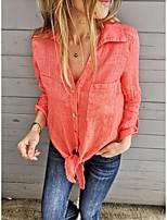 cheap -Women's Blouse Shirt Solid Colored Long Sleeve V Neck Tops Basic Basic Top Black Blue Orange