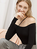 cheap -Women's T-shirt Solid Colored Long Sleeve Off Shoulder Tops Skinny Cotton Basic Sexy Basic Top Black