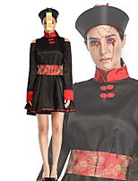 cheap -Zombie Dress Cosplay Costume Outfits Adults' Women's Cosplay Halloween Halloween Festival / Holiday Polyester Black Women's Easy Carnival Costumes / Belt / Hat / Belt / Hat