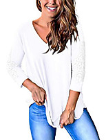 cheap -womens 3/4 sleeve tops and blouses v neck cotton lace tshirts white