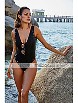 cheap -Women's New Fashion Modern One Piece Swimsuit Solid Color Rivet Push Up Cut Out Padded Normal Strap Swimwear Bathing Suits Black / Slim
