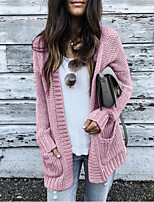 cheap -Women's Basic Knitted Solid Color Plain Cardigan Long Sleeve Loose Sweater Cardigans V Neck Fall Winter Black Blushing Pink Light gray