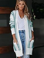 cheap -Women's Basic Knitted Striped Cardigan Long Sleeve Loose Sweater Cardigans V Neck Fall Winter Black Khaki Light Green