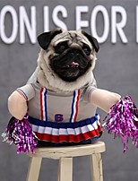 cheap -Dog Cat Halloween Costumes Costume Dress Stripes Cheerleader Cosplay Cute Christmas Party Dog Clothes Breathable Pink Costume Polyester S M L XL