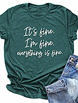 cheap -women its fine im fine everything is fine shirt inspirational letter short sleeve graphic tee tops & #40;m, green& #41;