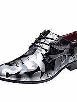 cheap -men fashion dress business shoe pointed toe floral patent leather lace up oxford casual formal business shoes grey